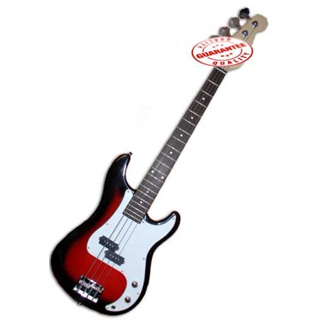 electric bass guitar with bag strap and tuner cherryburst. Black Bedroom Furniture Sets. Home Design Ideas
