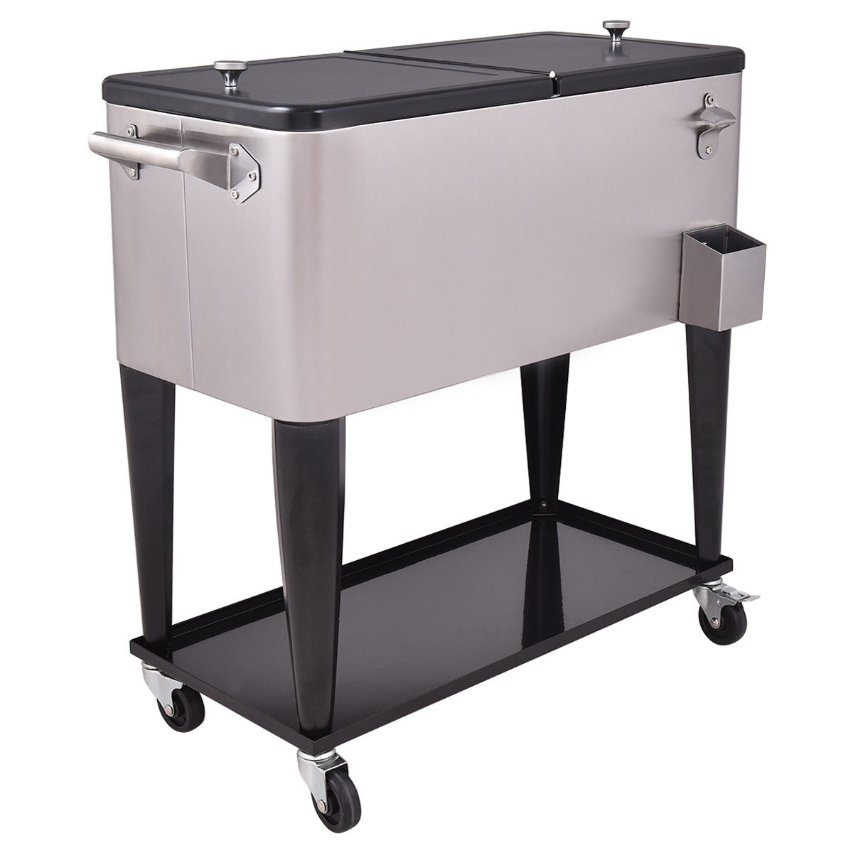 GHP 80-Quart Capacity Black & Silver Stainless Steel Rolling Beverage Cooler Chest