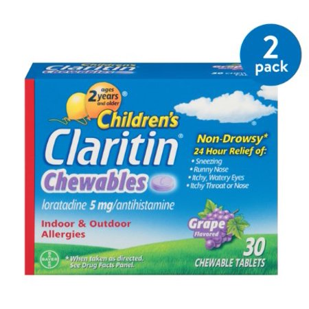 (2 Pack) Children's Claritin 24 Hour Allergy Grape Chewable Tablet, 5mg,