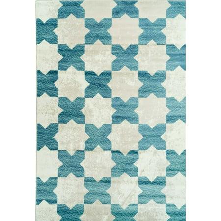 "Ladole Rugs Clover Moroccan Trellis Pattern Area Rug Carpet in Teal Ivory (5'3"" x 7'6"", 160cm x 230cm) - image 3 de 3"