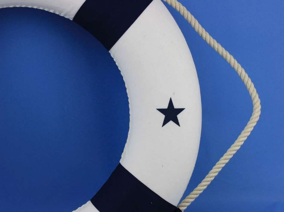 Hampton Nautical Decorative Blue Lifering Wall Plaque 20