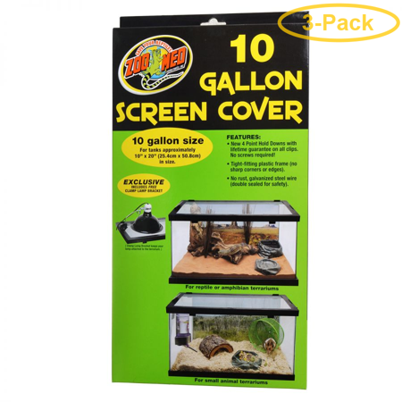 Zoo Med Animal Habitat 10 Gallon Screen Cover 20 Long x 10 Wide - Pack of 3 ()