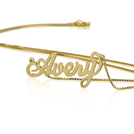 Personalized Name Necklace - Custom Made Any Name- 18k Gold Plated over Sterling Silver ()