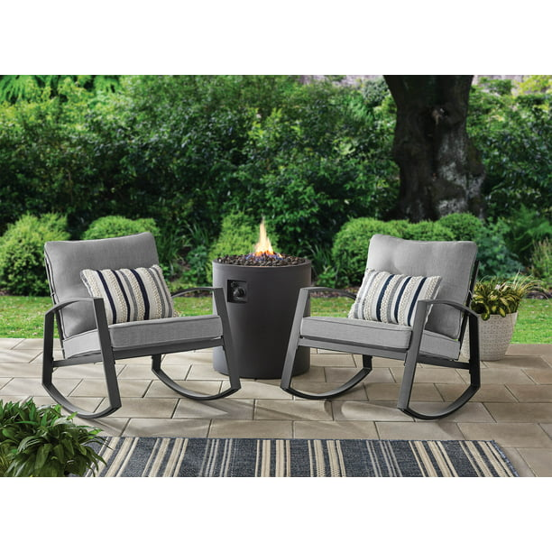 Mainstays Asher Springs 2 Piece Steel, Outdoor Rocking Chairs Set Of 2