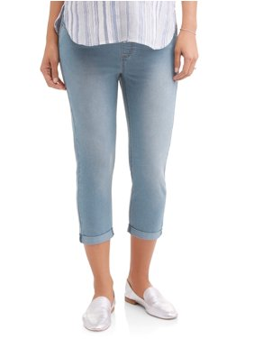 Oh! Mamma Maternity Roll Cuff Denim Capris - Available in Plus Sizes