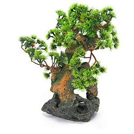 """Penn Plax RR993 7""""L x 6""""W x 12""""H Bonsai Tree on Rock Style 2 Fish Aquarium Ornament"""