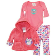 Duck Goose Baby Girls Owl Sherpa Hoodie Cardigan Jacket Pant Outfit Layette Gift Set