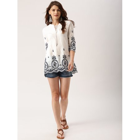 all about you from Deepika Padukone Women White Self Design Top - image 5 de 6