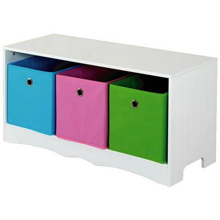 home basics kids storage bench with 3 multicolored bins. Black Bedroom Furniture Sets. Home Design Ideas