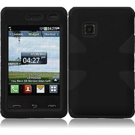 Dynamic Hybrid Tuff Hard Case for LG 840G - Black/Black (Lg 840g Jelly Case)