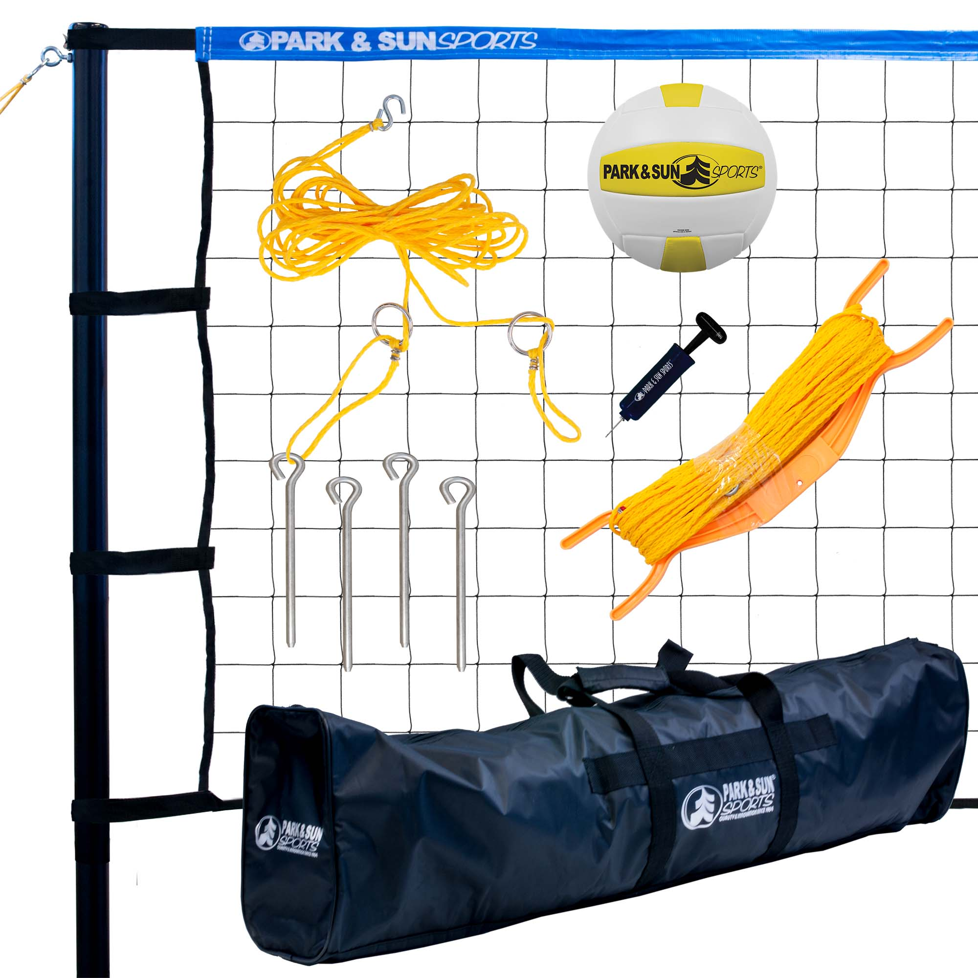 Park & Sun Sports Spectrum 179 Portable Outdoor Tournament Volleyball Net Set