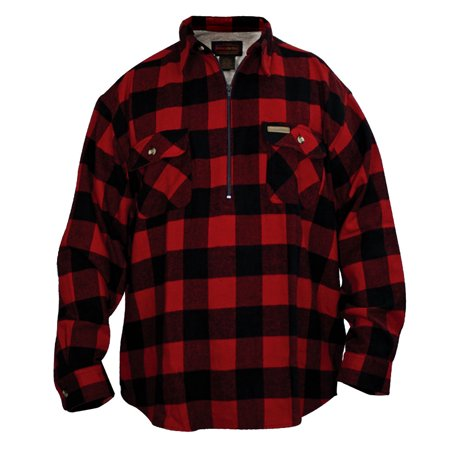Hickory Shirt Co. Buffalo Flannel Red/Black Plaid 1/2 Zip Shirt Jacket
