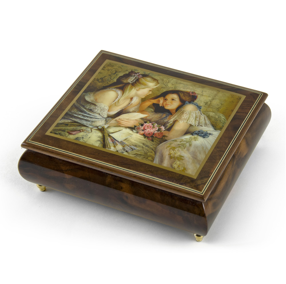 "Click here to buy Handcrafted Ercolano Music Box Featuring ""The Letter"" by Brenda Burke by MusicBoxAttic."