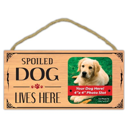 Wooden Decorative Pet Sign: Spoiled Dog Lives Here (Picture Frame) | Dogs ()