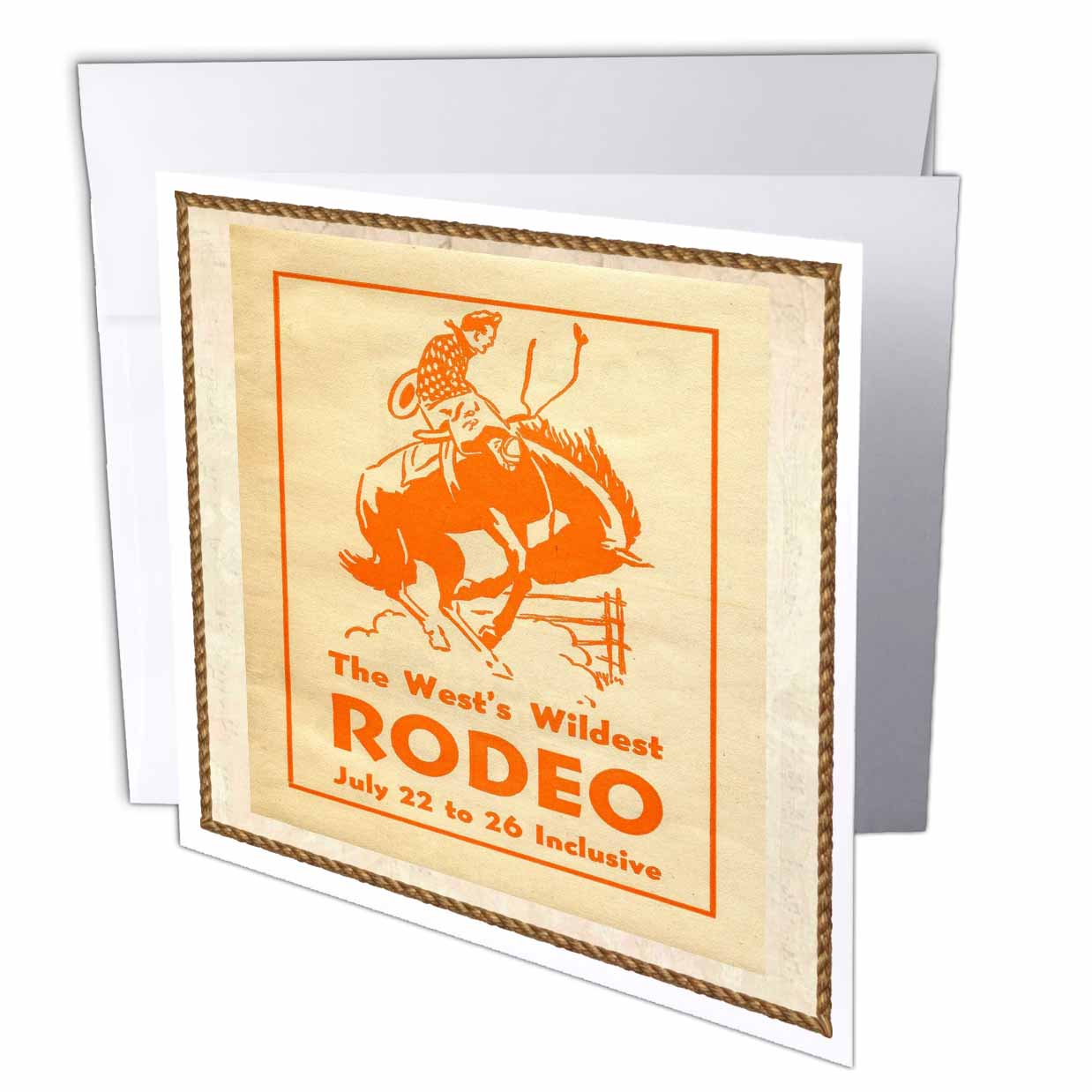 3dRose Cowboy Poster, Greeting Cards, 6 x 6 inches, set of 6