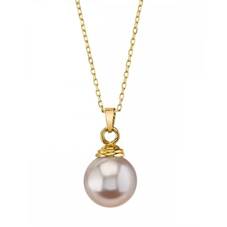 - 14K Gold 9mm Pink Freshwater Cultured Pearl Hope Pendant Necklace