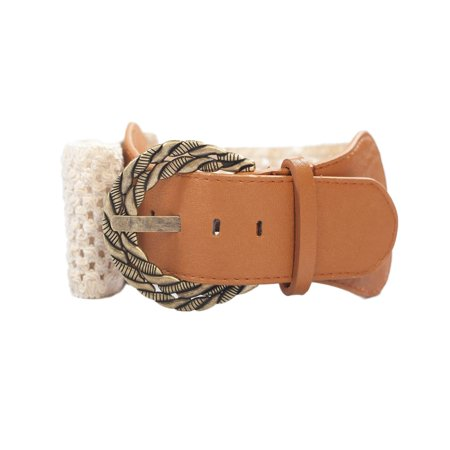 Ivory Buckle (eVogues Plus Size Ivory Burnished Buckle Elastic Belt )