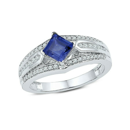 7/8 Carat (ctw) Lab Created Blue Sapphire Ring in 10K White Gold with Diamonds 1/3 Carat (ctw (10k Blue Sapphire Ring)