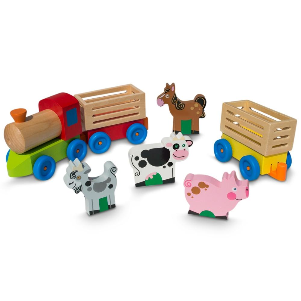 4 Farm Animals on Wooden Train with 2 Cars Toy Set by
