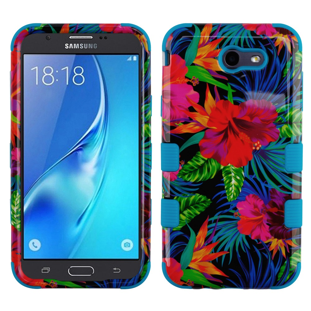 Samsung Galaxy J7 Sky Pro 4G LTE Case - TUFF Series [Military Grade Drop Tested - MIL-STD 810G-516.6] Heavy Duty Shock Resistant Protective Case (Hibiscus Flowers) and Atom Cloth