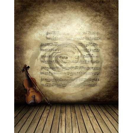 ABPHOTO Polyester 5x7ft Wooden Floor Sheet Music Cello Photography Backdrops Photo Props Studio Background - Sheet Music Background