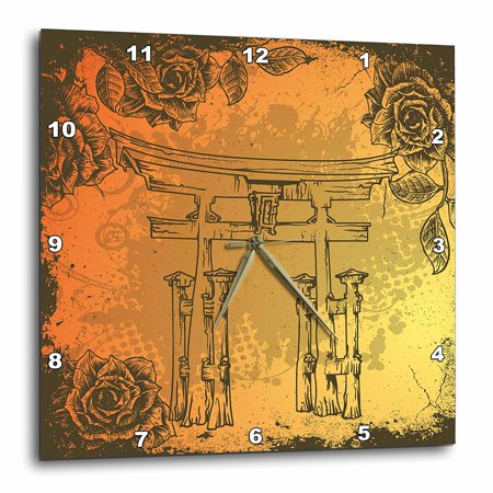 3dRose Japanese Style Gate With Vintage Faux Etches Roses Oriental Asian Inspired Art Gift, Wall Clock, 15 by 15-inch