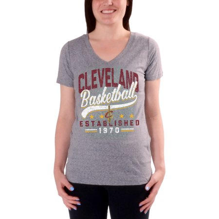 Women's Charcoal Cleveland Cavaliers Cracked Type Version 2 V-Neck