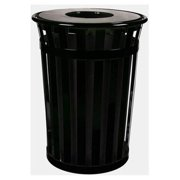 Witt Industries M5001-FT-SLV Oakley Slatted Metal Waste Receptacle With Flat Top - Silvadillo