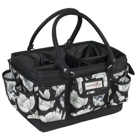 Everything Mary Craft Deluxe Store & Tote, Black & Floral (Craft Totes)
