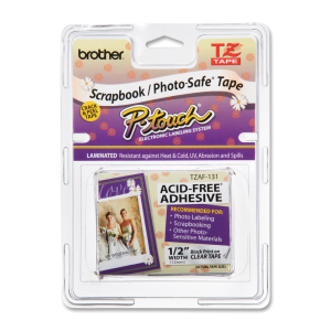 """Brother TZE-AF131 Black on Clear Adhesive Tape - 15/32"""" Width x 26 1/4 ft Length - Thermal Transfer - Clear, Black"""