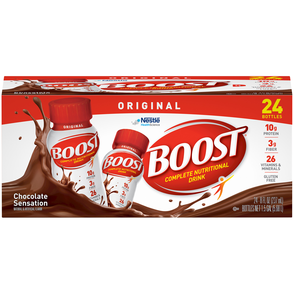 Boost Original Complete Nutritional Drink, Chocolate Sensation, 8 Fl oz, 24 Ct