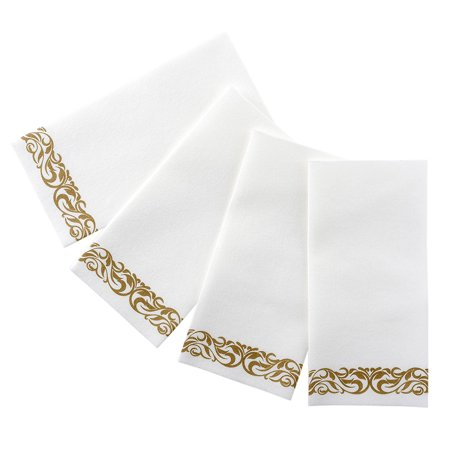 Bloomingoods Decorative Hand Towels, Paper Napkins / Disposable Linen-Feel Guest Towels, Gold - Floral, Pack of 100 for $<!---->