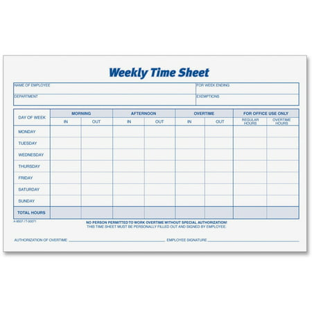 TOPS, TOP30071, Weekly Timesheet Form, 2 / Pack, White