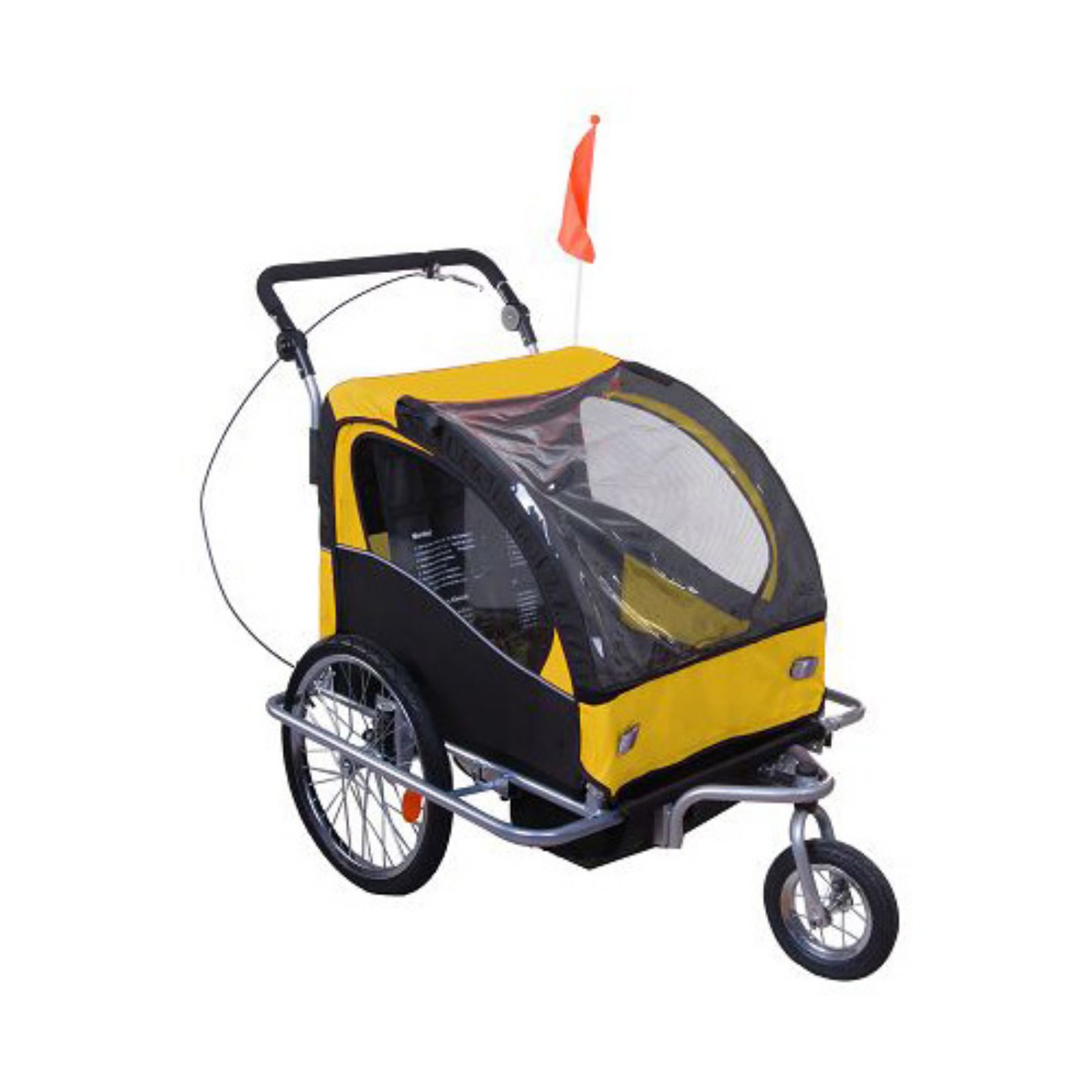 Aosom Elite II 3-In-1 Double Child Bike Trailer and Stroller -Yellow/Black
