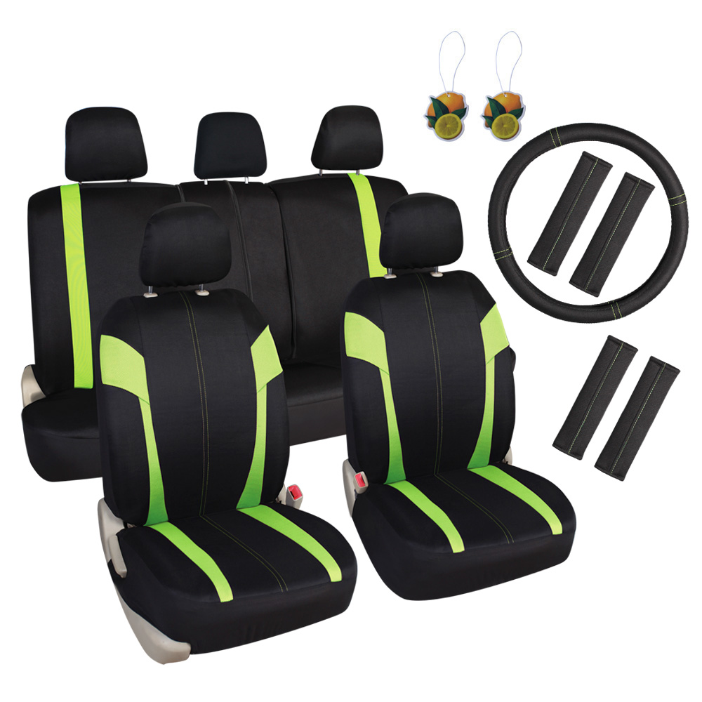 "Leader Accessories Universal Fit Car Seat Covers 17pcs Set with Airbag, 15"" Steering Wheel Cover + Shoulder Pads, 50/50 40/60 Rear Split Bench, Front Seat Protector"