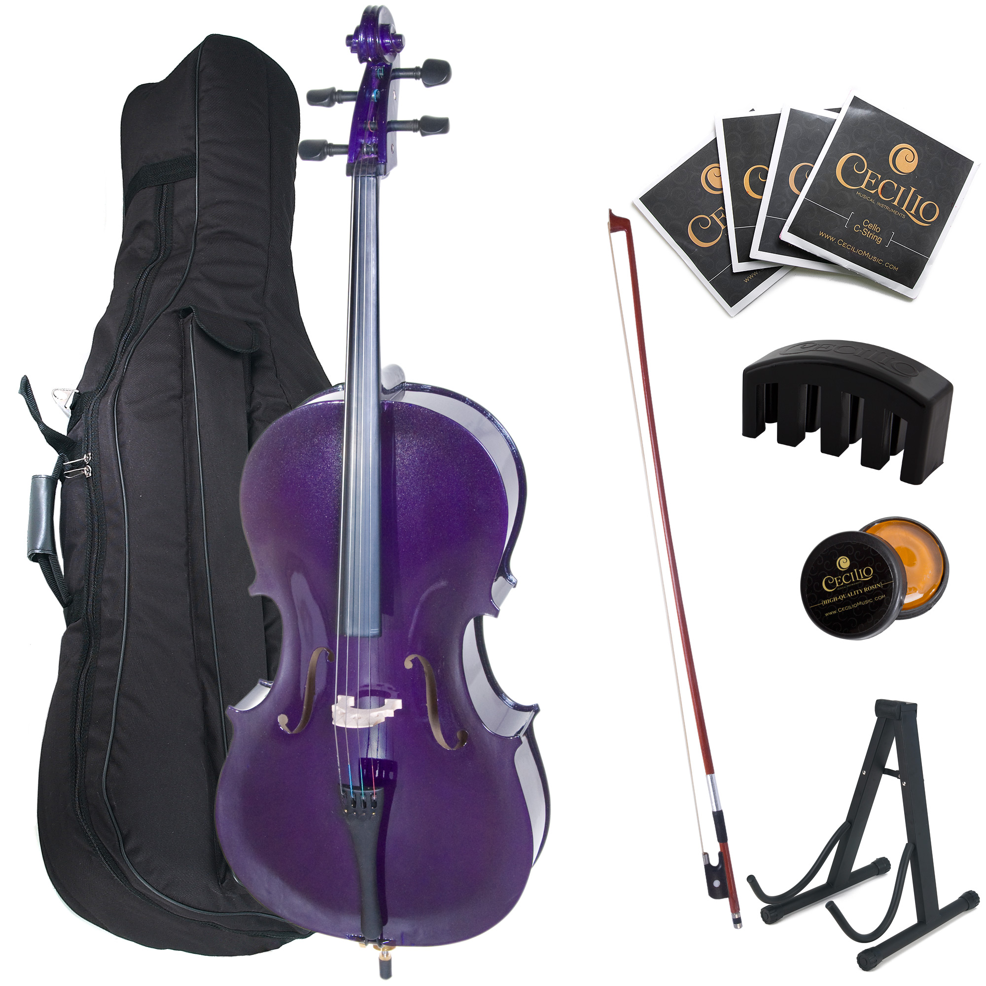 Cecilio Full Size 4 4 CCO-Purple Student Cello w  Cello Stand, Extra Set Strings, Bow,... by Cecilio Musical Instruments