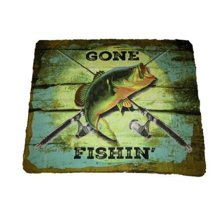 Gone Fishin Fishing Bass Fish 50x60 Polar Fleece Blanket Throw, Fleece By AES