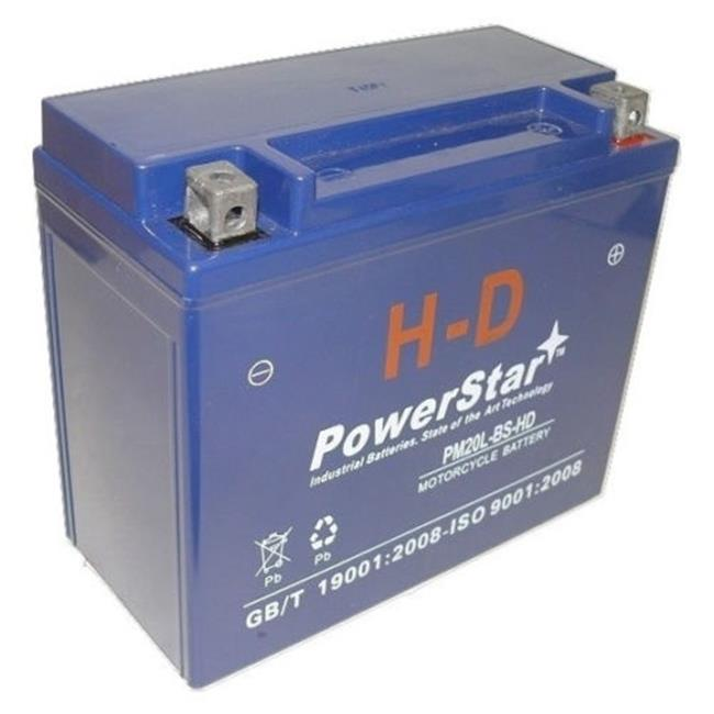PowerStar PM20L-BS-HD-034 YTX20L-BS Replaces Motorcycle Battery for 2011-2010 Mastiff EFI