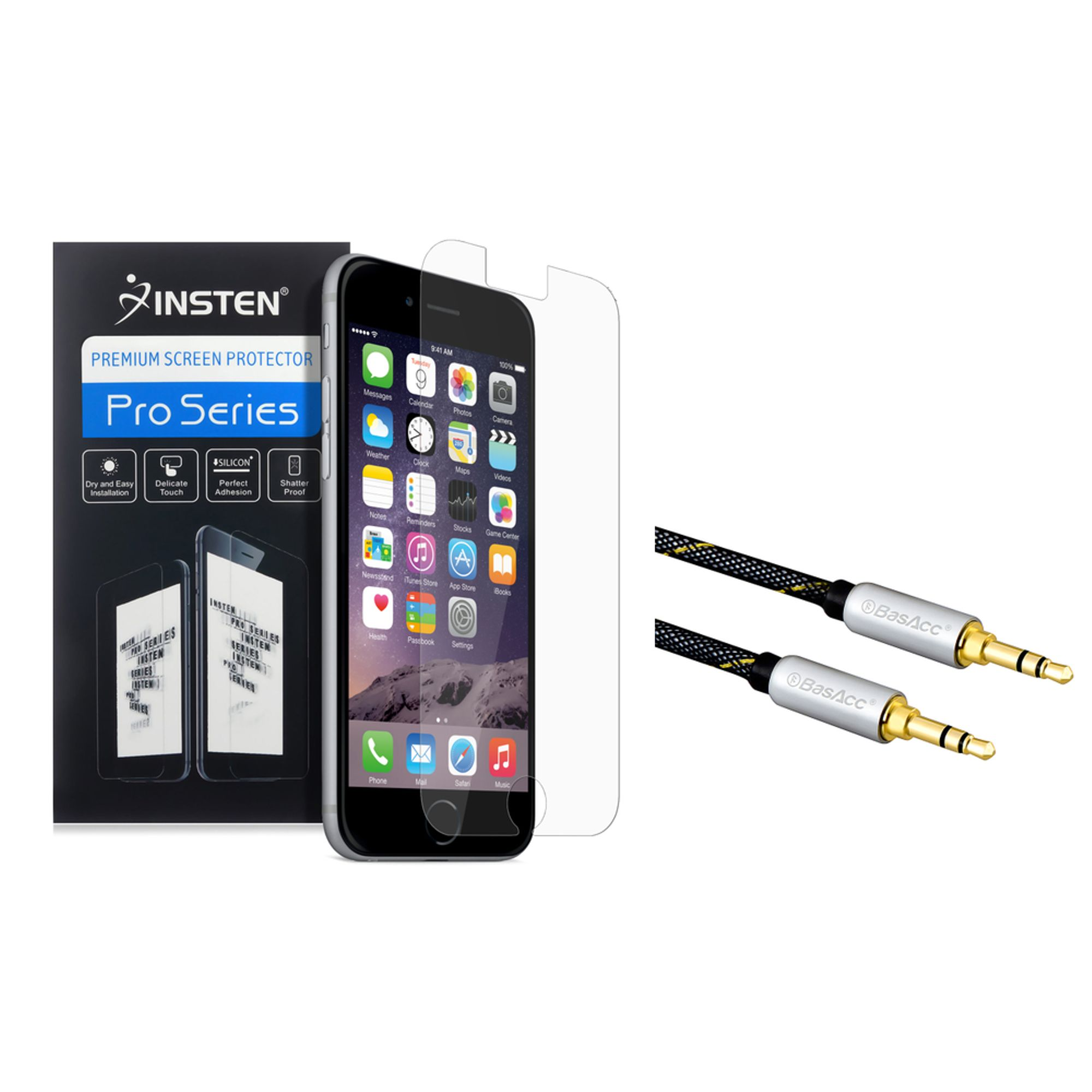 Insten Clear Screen Protector Guard For iphone 6S 6 (+3.5mm Aux Auxiliary Audio Stereo Extension M/M Cable)