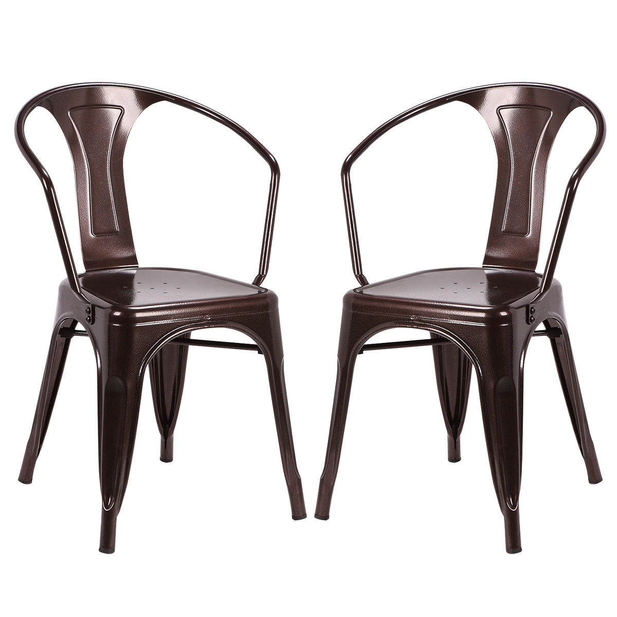 Costway Set of 2 Vintage Style Arm Chair Stackable Bistro Cafe Metal Stool Copper