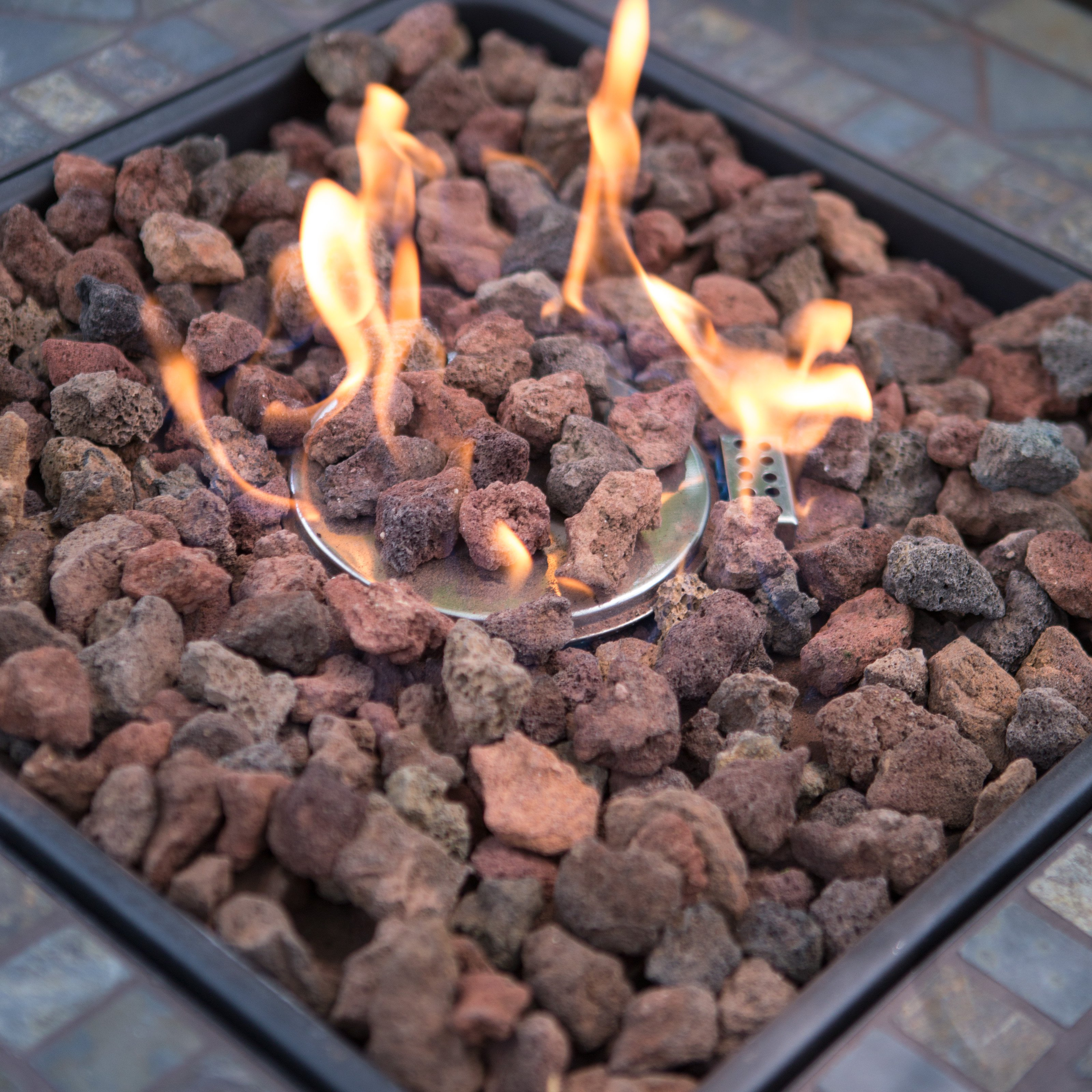 UniFlame Slate Mosaic Propane Fire Pit Table With FREE Cover Image 4 Of 7