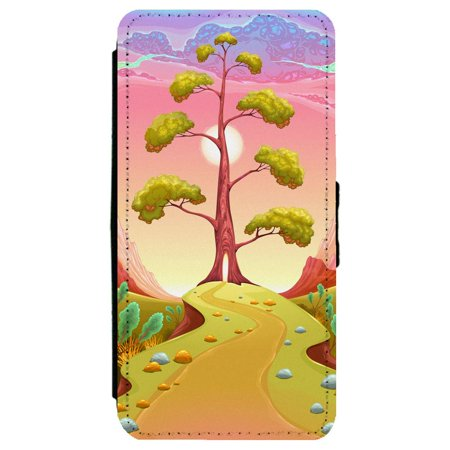 Image Of Pathway Leading To A Tree In A Surreal Pink Landscape Apple Iphone 6   6S Leather Flip Phone Case
