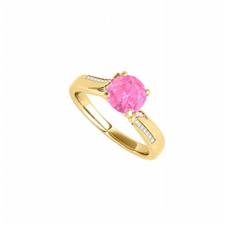 CZ Pink Sapphire Pretty Ring in Yellow Gold Vermeil, 26 Stones