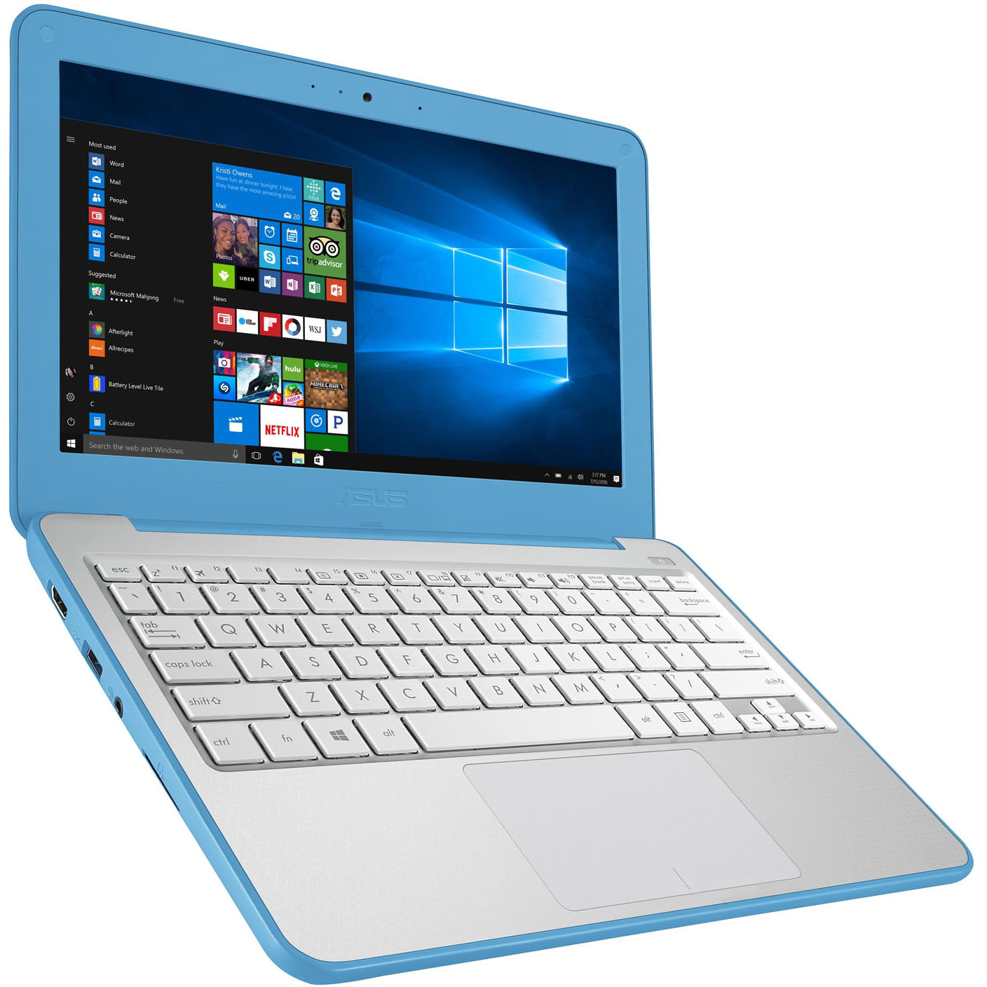 "Refurbished ASUS W202NA-DH02 Vivobook 11.6"" Laptop 2.4 GHz 4GB 64GB eMMC Blue/Silver"