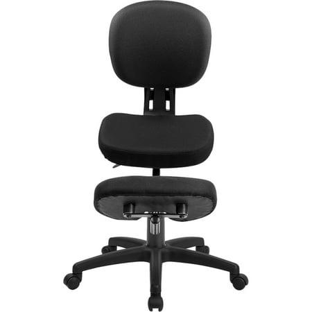 Flash Furniture Ergonomic Kneeling Posture Task Chair with Back - Black Fabric