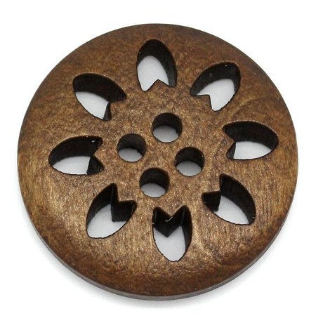 Sexy Sparkles 5 Pcs Round Brown Wood Buttons Snowflake 25mm
