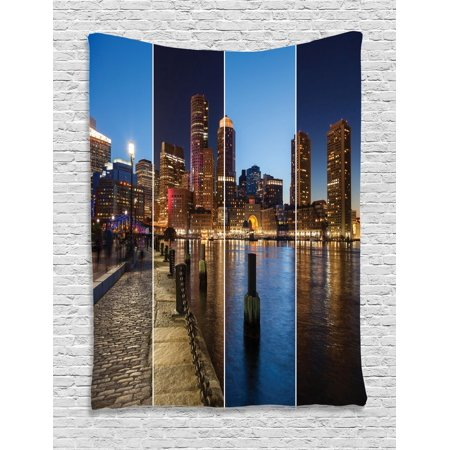 Boston Cotton Tapestry - American Tapestry, Boston Skyline Day and Night Cityscape Skyscraper Reflection in Water Metropolis, Wall Hanging for Bedroom Living Room Dorm Decor, Multicolor, by Ambesonne