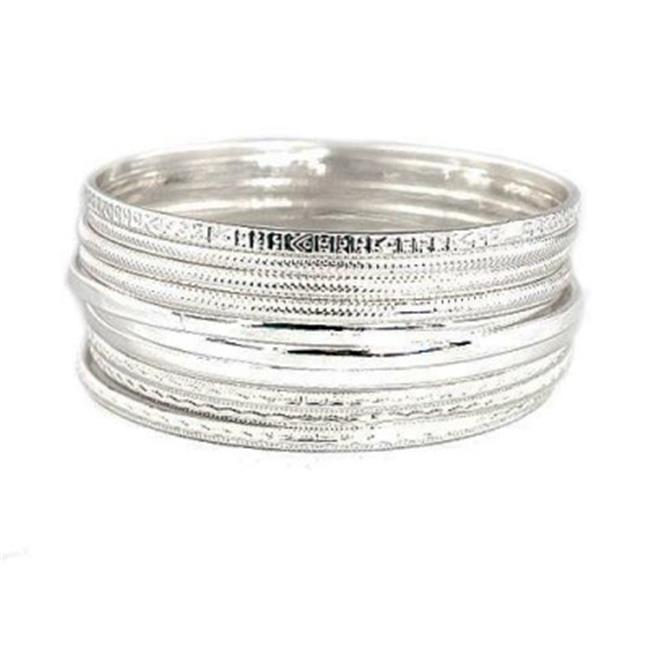 C Jewelry Silver Multi Textured Bangles, Set Of 10 Pieces