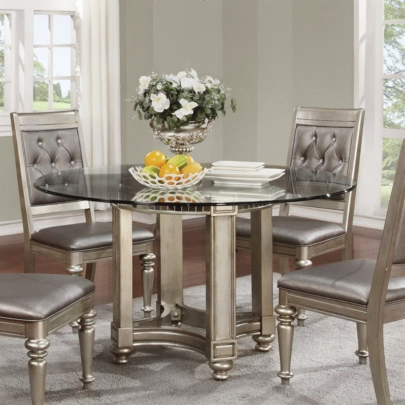 Coaster Danette Round Dining Table with Glass Top in Metallic Platinum by Coaster