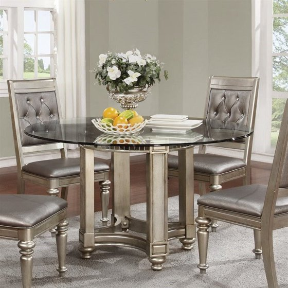 Walmart Kitchen Tables: Coaster Danette Round Dining Table With Glass Top In